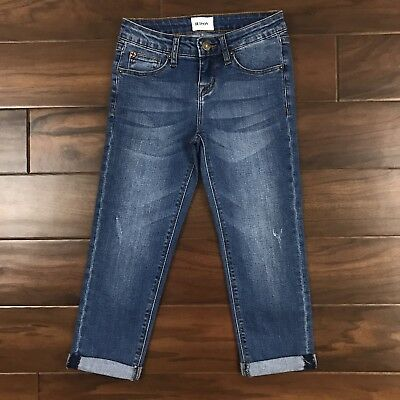 Hudson Youth Girls Sz 8 Medium Wash Crop Ankle Jeans Distressed Rolled Hems
