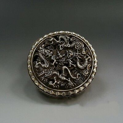 China Silver Copper Carving Dragon Hollow Incense Burner Incensory Collection