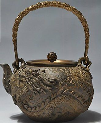 Japanese tetsubin Cast Iron Teapot Dragon and phoenix art Kettle 1400ml 48 Ounce
