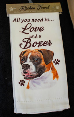 Boxer Uncropped Dog Breed Cotton Kitchen Dish Towel