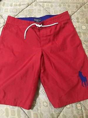 POLO RALPH LAUREN Boys Red Swim Trunks Size Medium M 10/12