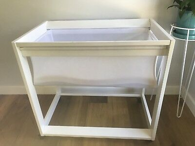 White Baby Bassinet Cot With Mattress