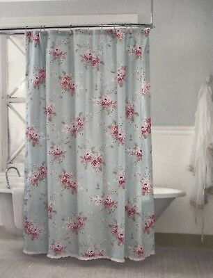 Simply Shabby Chic Hydrangea Fabric Shower Curtain Ruffle Discontinued New