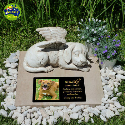 Angel Dog Figurine Statue. With/Without Personalised Memorial Plaque + Free Gift