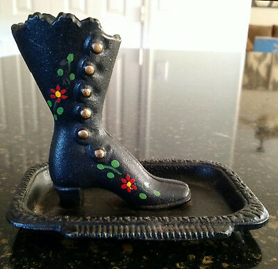 Vintage Wilton Victorian Cast Iron Flower Painted Boot On Tray Matchstick Holder