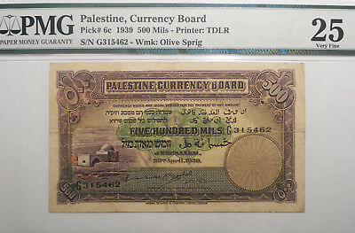 Palestine Currency Board, 1939  500 Mils note, PMG VF25 !!!, Scarce !!!, P-3611