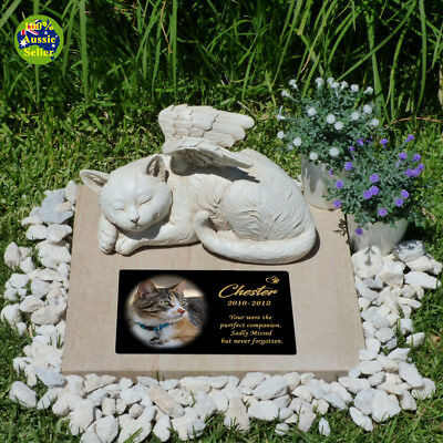 Memorial Cat Angel Figurine Statue. With Without Personalised Plaque & Free Gift
