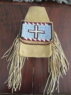 "NORTHERN PLAINS BEADED BELT POUCH 13"" large, luxuriant fringe,lazy stitch beaded"