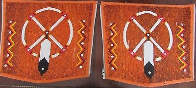 LAKOTA SIOUX FULLY BEADED CUFFS great medicine wheel and eagle feather design