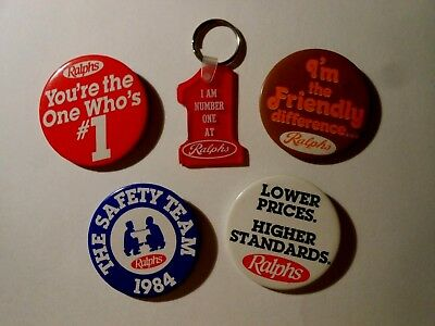 Lot Of (5) Vtg Ralphs Grocery Co. Items (1) Keychain & (4) Pins / Pinbacks