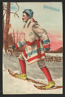 Vintage Victorian Trade Card Advertising Soapine, Man on Snowshoes