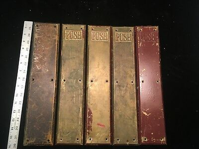 vintage brass door  finger Plate 5 PUSH Plates