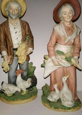 HOMCO Home Interiors 1477 Old Man Couple FARMER Husband Wife PORCELAIN Figurines
