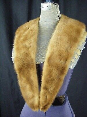 "Vintage Honey Brown Mink Fur Cardigan Long Collar- 44"" Long"