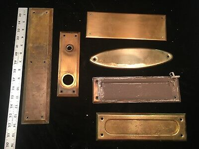 vintage brass door  finger Plates and mail slots