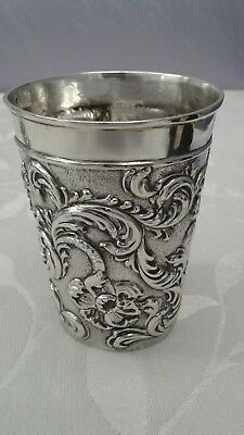 Estate Judaica Sterling 1800s 800 silver kiddush cup shabbos  hand chased 925