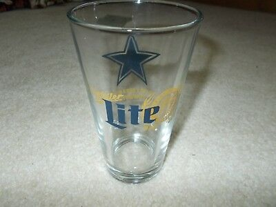 Miller Lite / Dallas Cowboys Pint Beer Glass-New