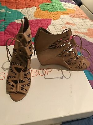 Dolce Vita Tan Leather Lace Up Wedges Sz 41 10