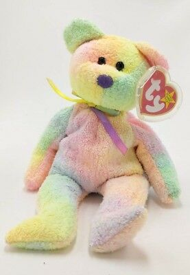 Vintage 1999 Ty Beanie Babies GROOVY Bear MWMT - 8 Inches Tall & Tag Protector