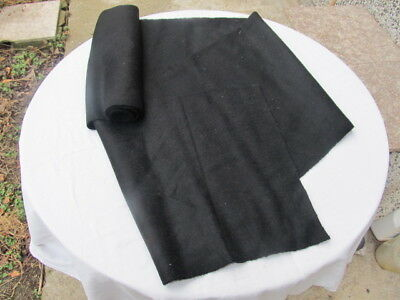 """Antique Old Homespun Frieze Fabric Roll Black About 3 Yards Thick Wool """"shaiak"""""""