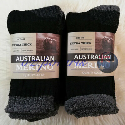 6 PAIRS SIZE11-14 HEAVY DUTY AUSTRALIAN MERINO EXTRA THICK WOOL WORK SOCKS Black