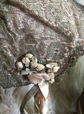 Original Child's 1920's Silver Metallic Lace Bonnet with Silk and Lamé Ribbons -