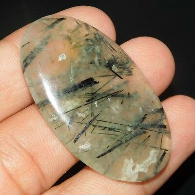 65Cts 100% Natural 42X23X6Mm  Prehnite Oval Shape Cabochon Loose Gemstone