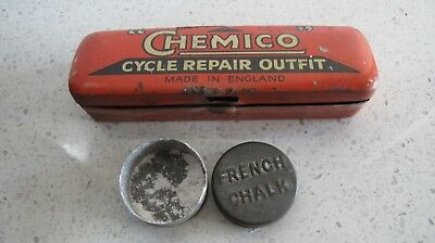 VINTAGE CHEMICO  CYCLE REPAIR OUTFIT TIN and A METAL FRENCH CHALK TIN
