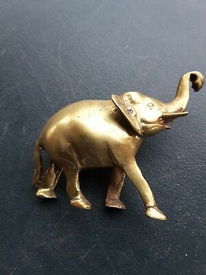 Brass Elephant Raised Trunk Statue Ornament
