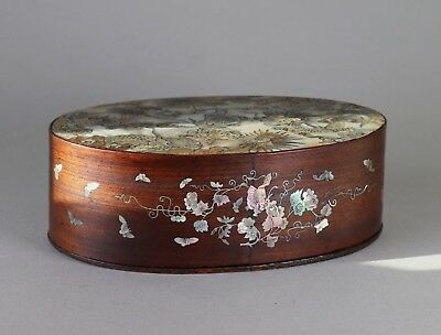 Antique c.1900 Chinese or Vietnamese Mother of Pearl Inlaid Hardwood Box