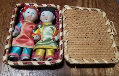 Vintage Asian / Japanese Petite Jointed Boy & Girl Dolls In Woven Straw Basket