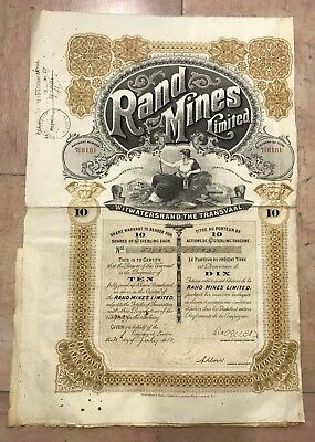 South Africa Original Bond 1913 Rand Mines Limited 10 Shares Of 5 L. Sterling