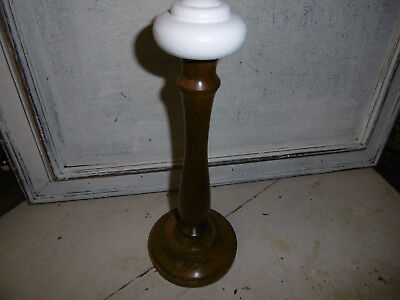 Vintage wooden hat display stand millinery stand natural wood painted top