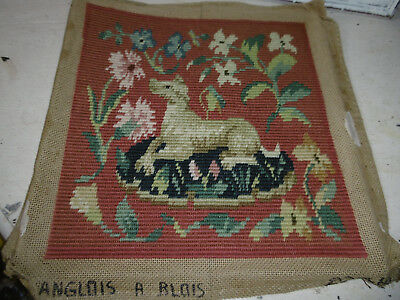 Needlepoint tapestry picture Medieval dog completed, very good condition