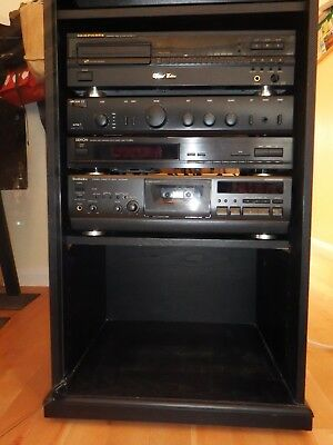 Hi Fi Separates including Speakers in Black Wood Glass Fronted Cabinet