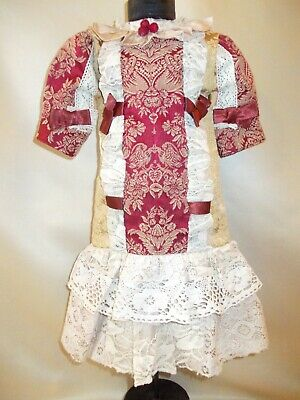 Dress in Victorian style of jacquard and cotton lace for vintage dolls 21-27 inc