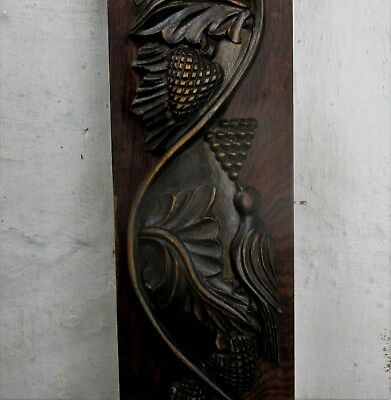 French Antique Corbel Hand Carved Wood Pediment Birds Berries Architectural WOW