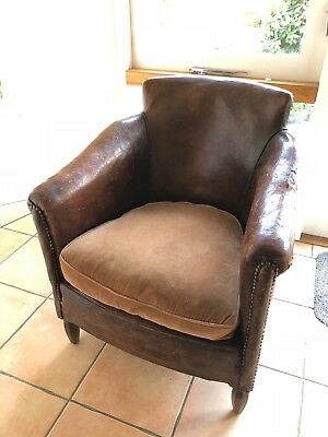 Antique Chestnut Small Leather Armchair