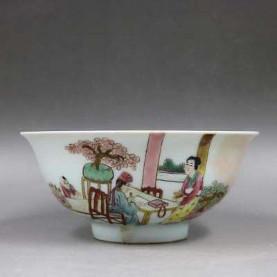 Chinese Old Marked Famille Rose Family Story Pattern Porcelain Bowl