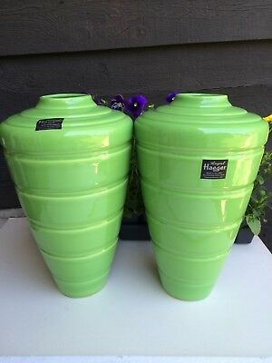 Pair LARGE Royal Haeger Vases ART DECO BANDS/ STUNNING BEAUTIES/REDUCED TO SELL