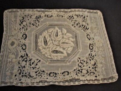"Antique Mixed Lace Ivory Lace Tray Mat 14"" x 19"" with Embroidery (A41)"