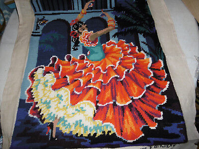 Needlepoint tapestry picture Spanish dancer completed, very good condition