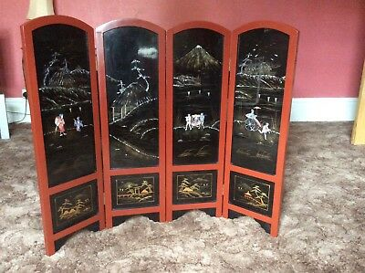 Screen Antique Oriental 4 Fold Screen Absolutely Lovely With Inlaid Glass Panels