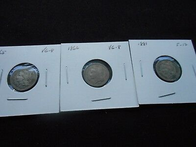 3 -- 3 Cent pieces,1865, 1866, & 1881 -- Circulated