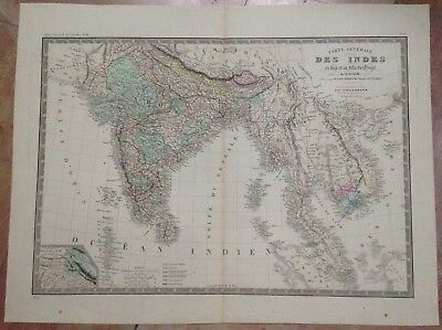 INDIA SOUTHEAST ASIA by BRUE 19e CENTURY LARGE ANTIQUE ENGRAVED MAP IN COLORS