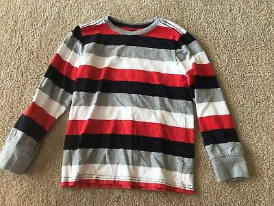 Gymboree Boy's Red/Blue/Gray/White Striped Long-Sleeve Shirt, Size 5T