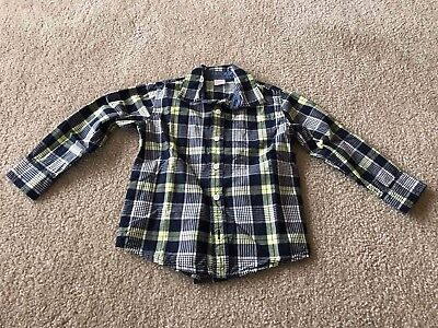 Gymboree Boy's Navy Blue/Yellow Plaid Long-Sleeve Button-Down Shirt, Size 4T