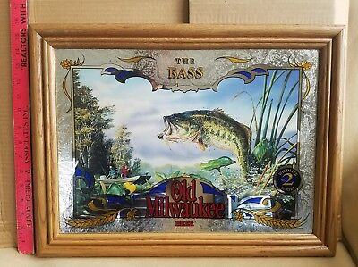 """Old Milwaukee Beer Sign """"The Bass"""" #2 In Wildlife Series Mirror Sign"""