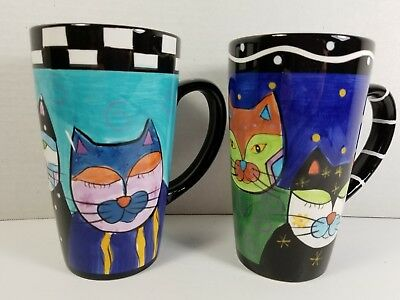 Milson & Louis Manhattan Cats Day & Night Coffee/Latte Tall Mugs, Set of 2