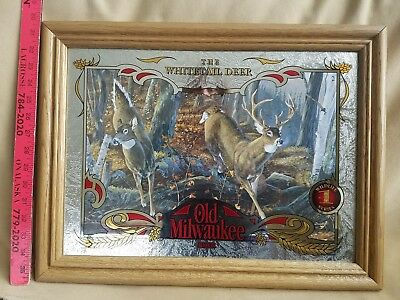 """Old Milwaukee Beer Sign """"The Whitetail Deer"""" #1 In Wildlife Series Mirror Sign"""